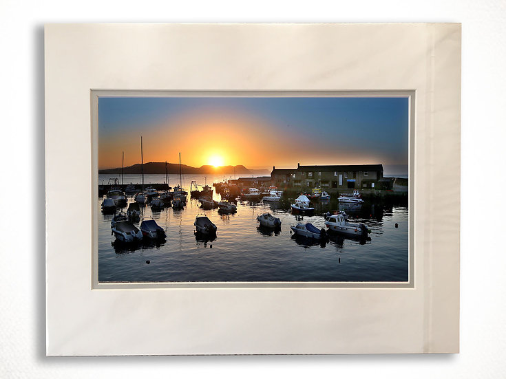 Double Mounted Print - Fishing Boats upon Sunrise, Lyme Regis Harbour.
