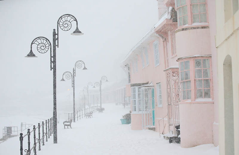 Lyme Regis...Simply snow and pink 2018