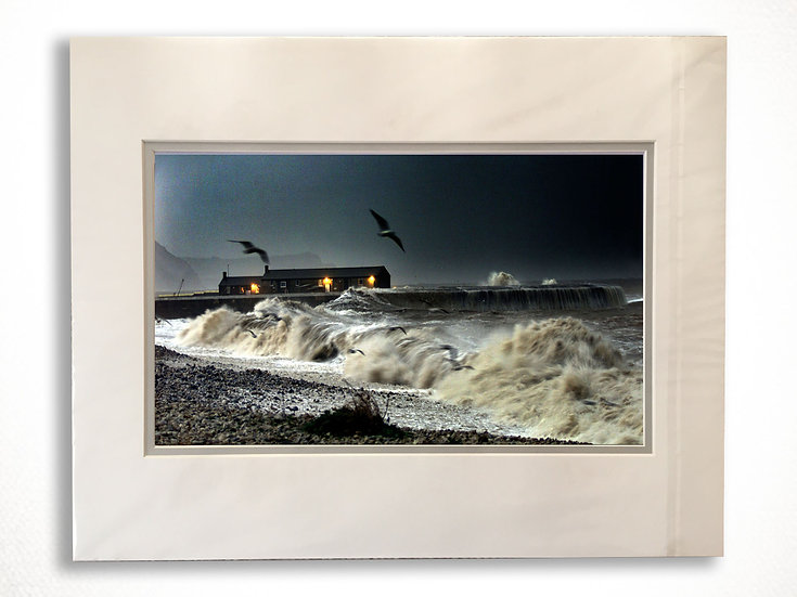 Double Mounted Print - Dusk on Monmouth Beach, Lyme Regis with a heavy sea.