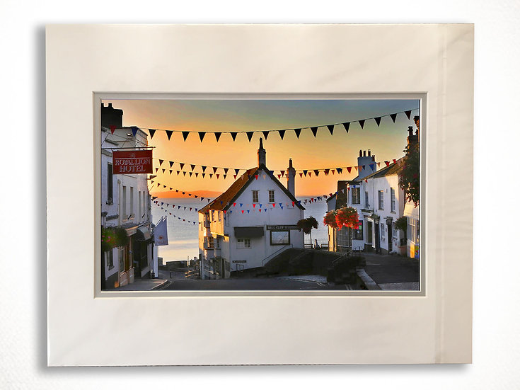Double Mounted Print - Sunrise, Bottom of Broad St, Lyme Regis.