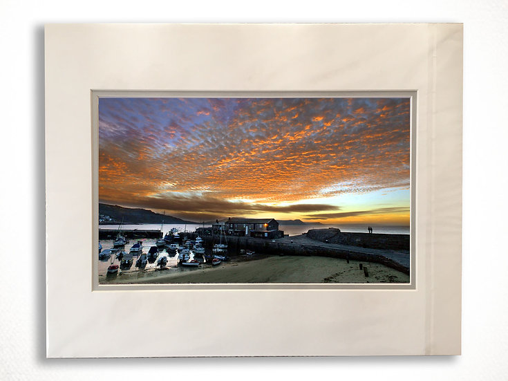 Double Mounted Print - A Lovers Sunset, the Cobb, Lyme Regis.