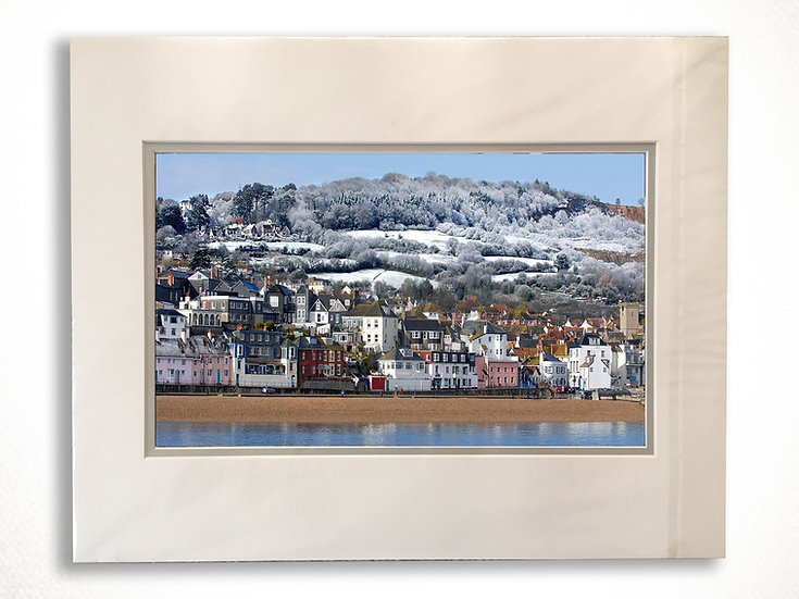 Double Mounted Print - Winter Hills, Lyme Regis Seafront.