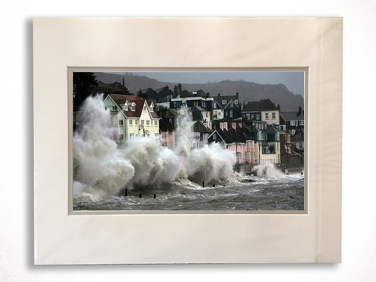 Double Mounted Print - The Last Storm in Lyme Regis.