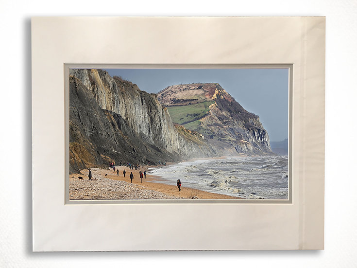 Double Mounted Print - Golden Cap, Charmouth.