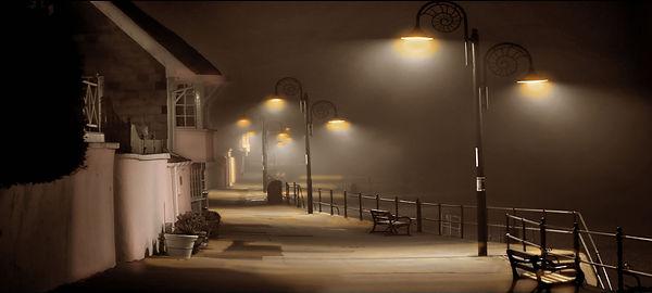 A misty night on the parade at Lyme Regi