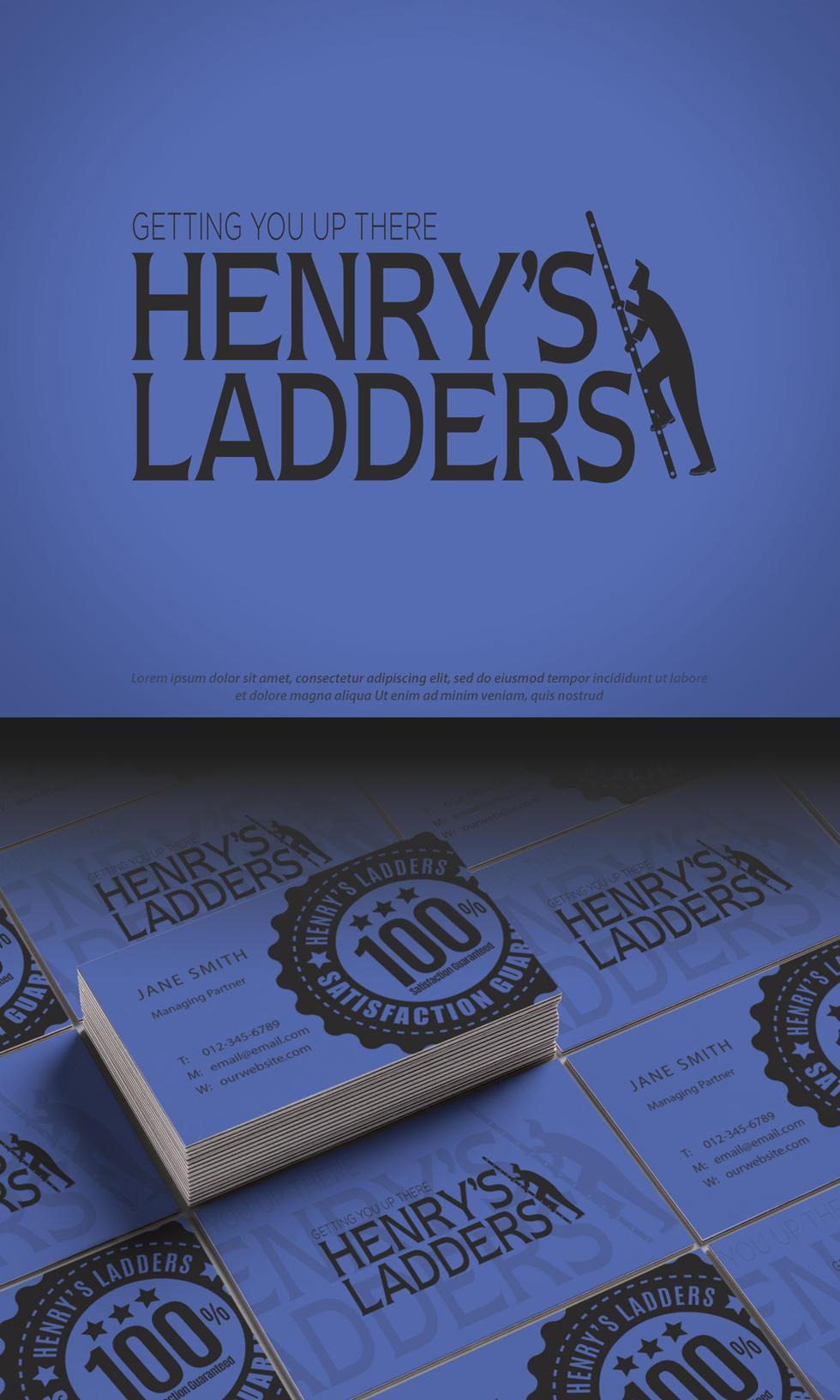 Henry's Ladders Business Cards Mock-Up 2