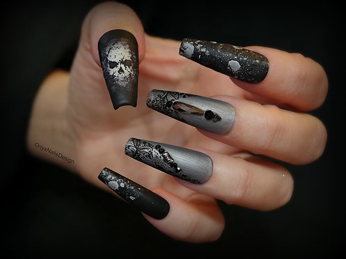 Black and Grey Halloween Skull