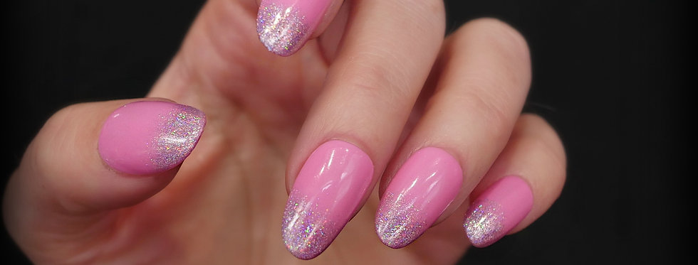 Pink Holographic Ombre Fade