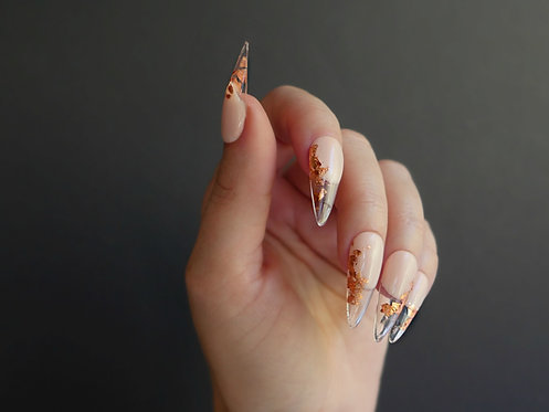 Nude Gold Glass French
