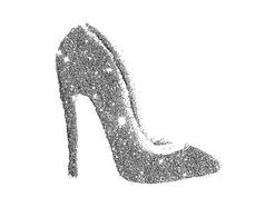 High heel shoe of golden glitter sparkle