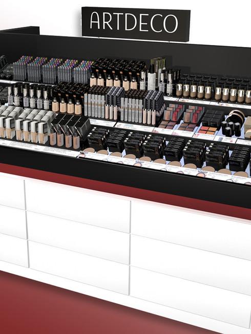 Der Counter klassisch, prominente Seitenvisual  mit Beleuchtung, helle, freundliche Depot-Front  und hübsche Farbakzente.