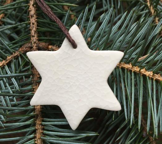 Porcelain Six Sided Star Ornament