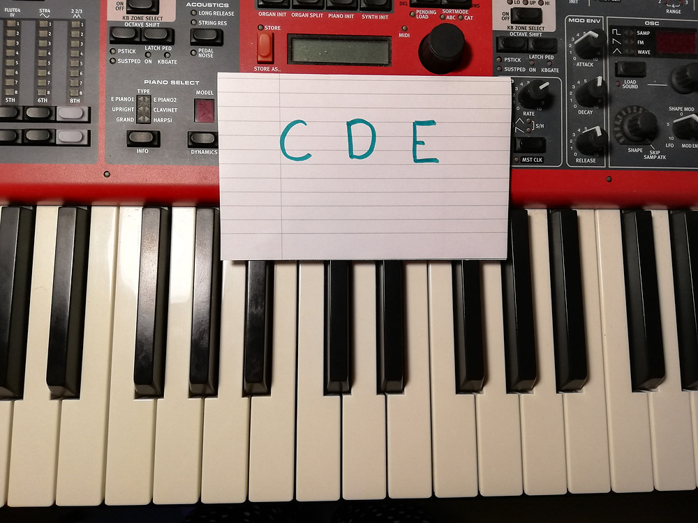 Keyboard with a piece of paper containing C D E