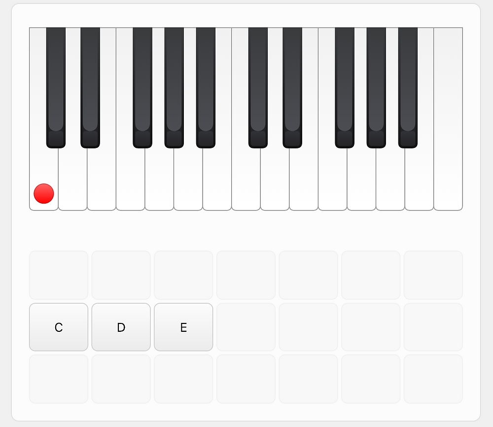 Screenshot from musictheory.net showing the keyboard recognition game.