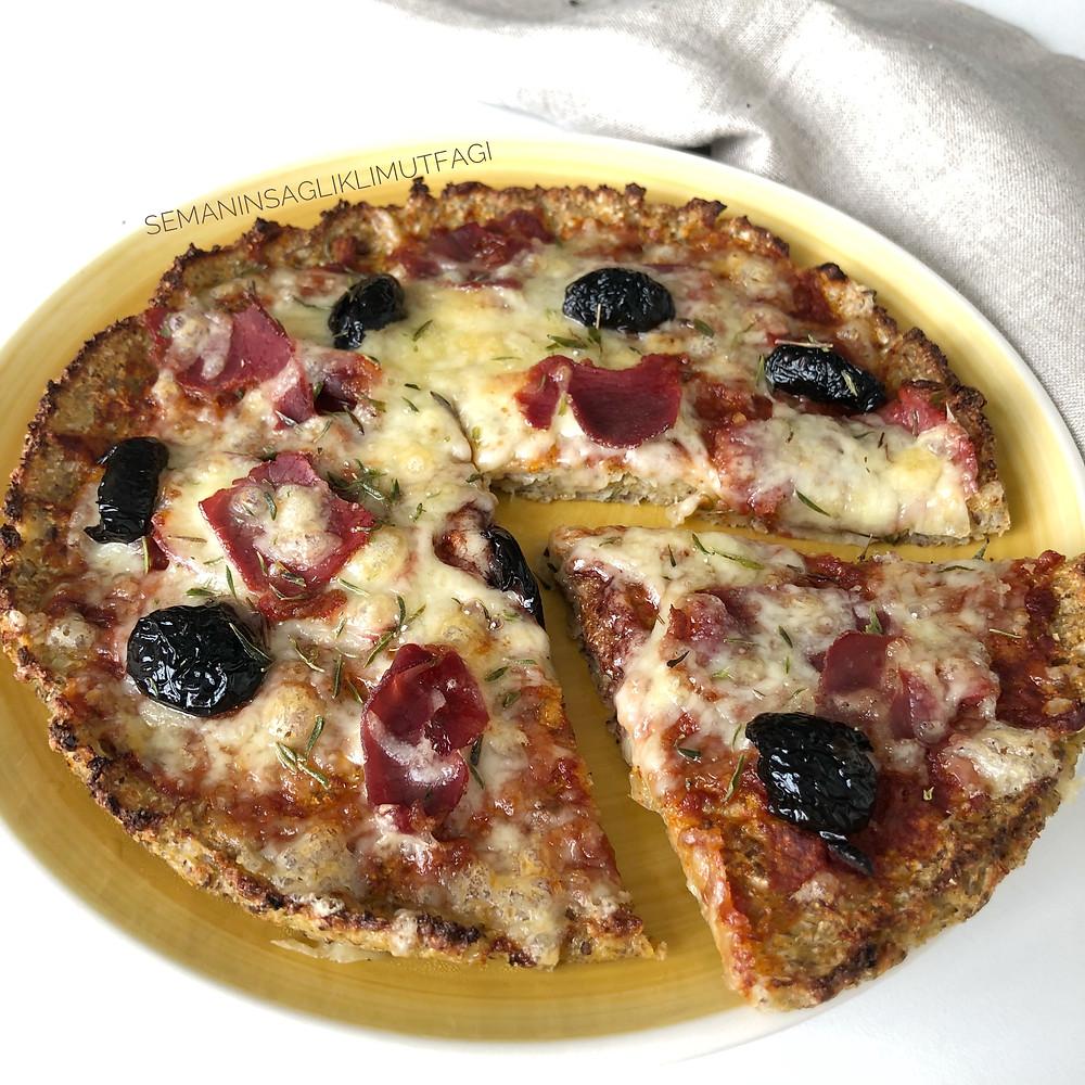 karnabahar pizza, sağlıklı pizza, pizza