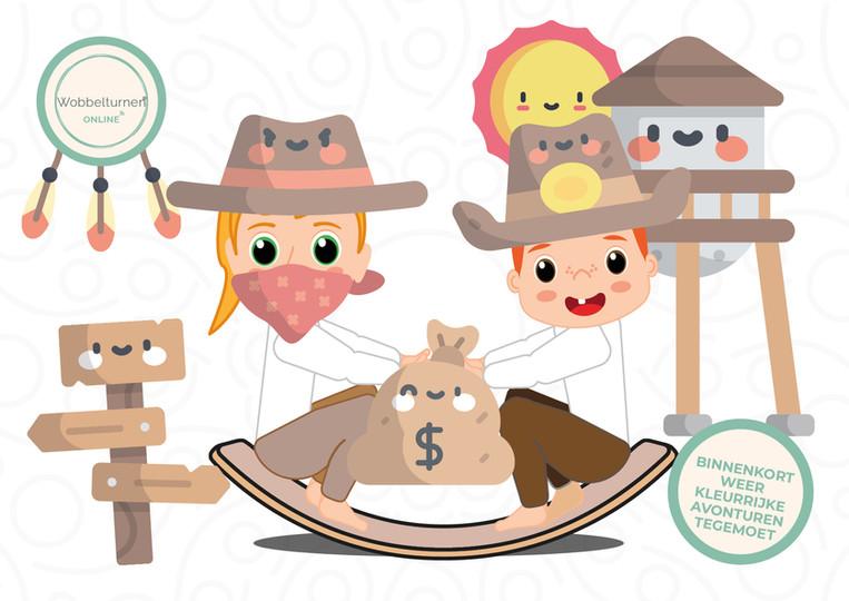 Kleurplaat wobbelturnen thema cowboys