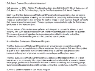Willie's Woodshop Receives 2014 Best Businesses of Galt Award