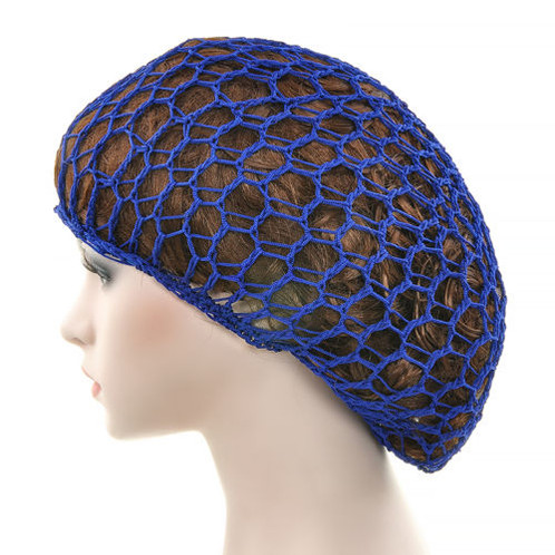 Hand Made Soft Rayon Hair Snood In Royal Blue