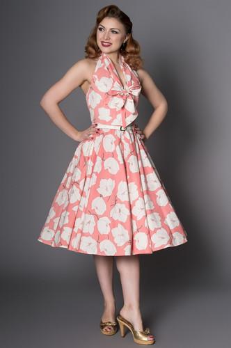 7a448ec3db035 Sheen Alex 40s 50s Coral Halterneck Full Circle Dress