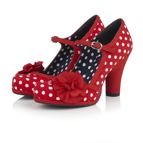 943bac2b0c3306 Ruby Shoo Hannah Red White Polka Dot Stappy Heels