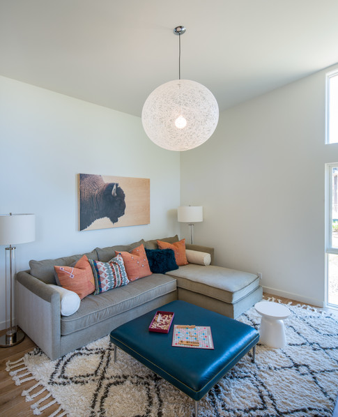 Couch with Light Fixture