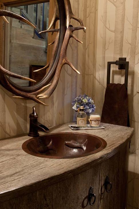 Elk Antler Mirror over Sink