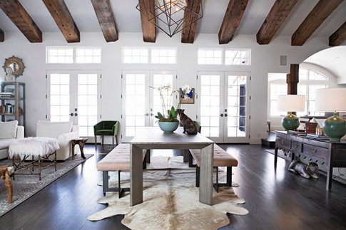 Exposed Beams over Dining Table