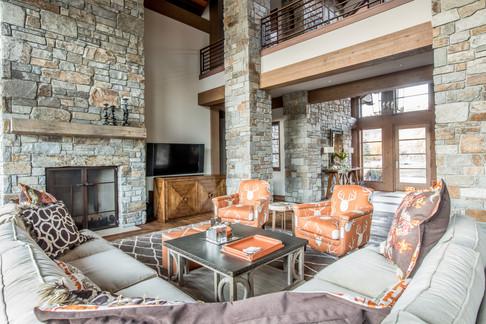 Living Room with Masonry