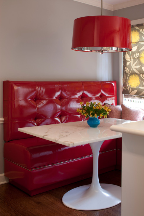 Red Retro Bench Seat Breakfast Table