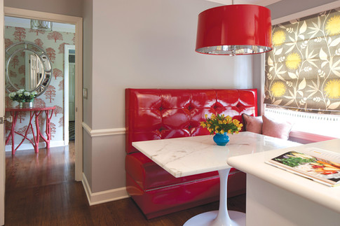 Red Retro Bench Seat Dining Table