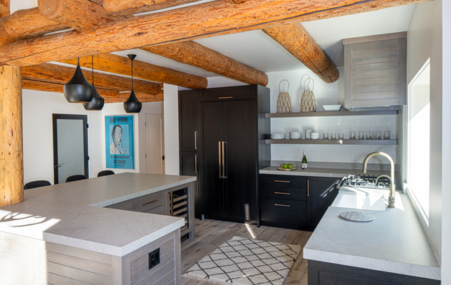 Kitchen with Exposed Logs