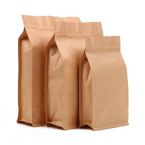 Kraft Paper Gusseted Bag With Zipper