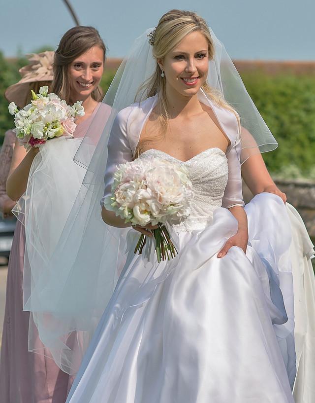 Summer Wedding Bride with Bridal Bouquet