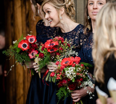 Winter Wedding Bridal Bouquets- with Bridesmaids bouquets