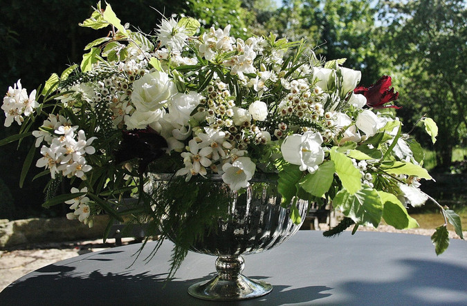 Footed vase of Summer flowers