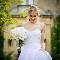 Summer Wedding Bride with Bridal Bouquet- Peonies and summmer scented roses