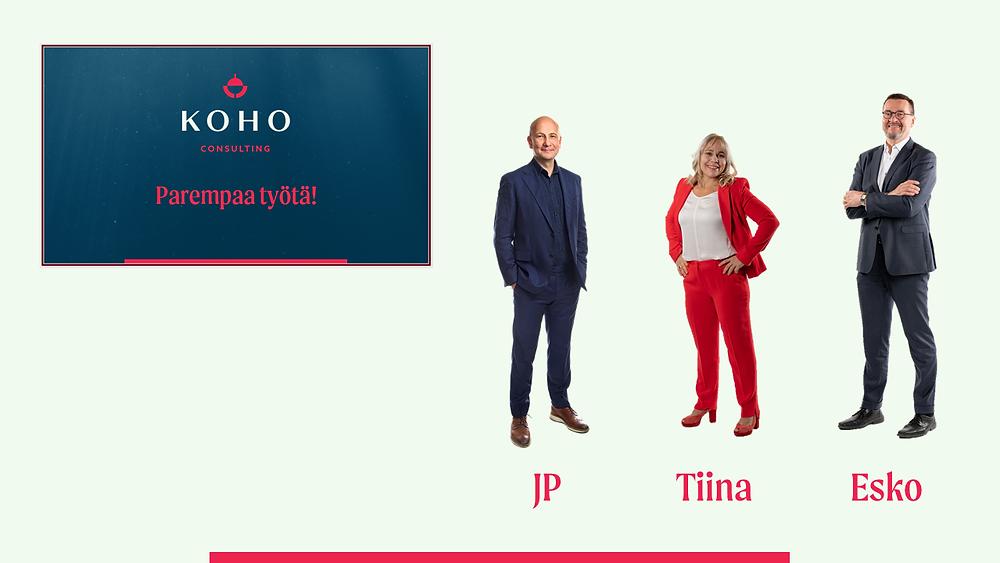 Saagacomsin asiakkaat Koho Consultingilta. TIina, Esko ja JP. Nainen ja 2 miestä