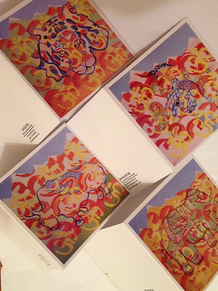 4 greeting cards ( 10cm square with envelopes)
