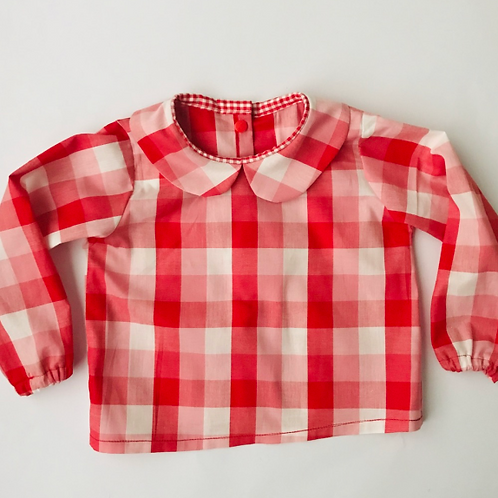 Red Gingham Peter Pan Collar Blouse