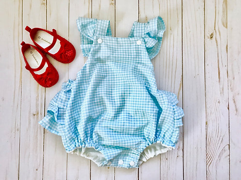 Dorothy Romper | Powder Blue Gingham