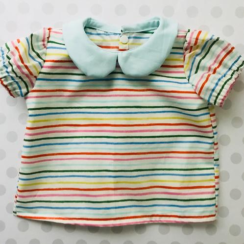 Rainbow Stripes Peter Pan Collar Blouse