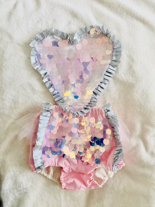 Pink Sparkle Heart Romper