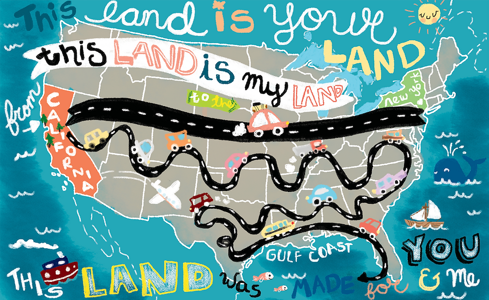 Map of the USA hand-lettered