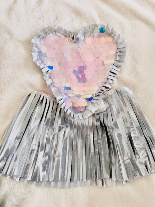 Silver Sparkle Heart Dress