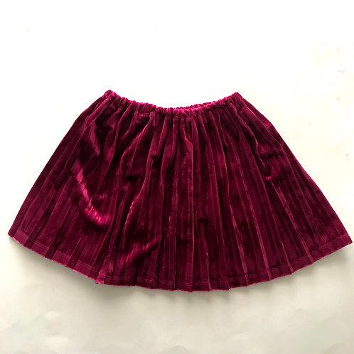 Pleated Velvet Skirt (Magenta)