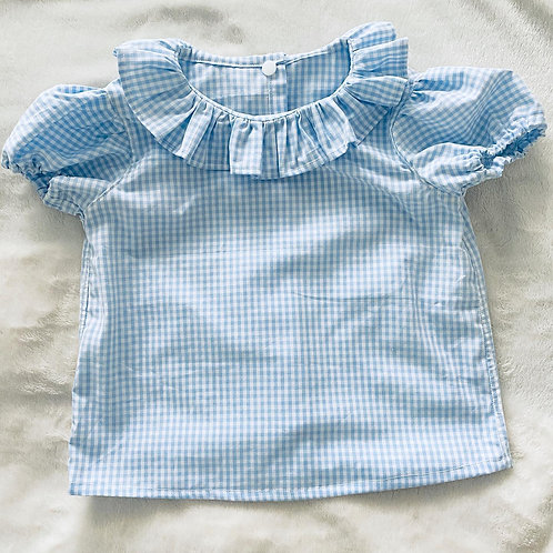 Gingham Ruffle Neck Top