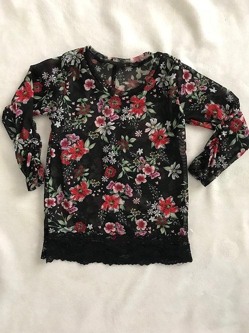 Floral Black Lace Top