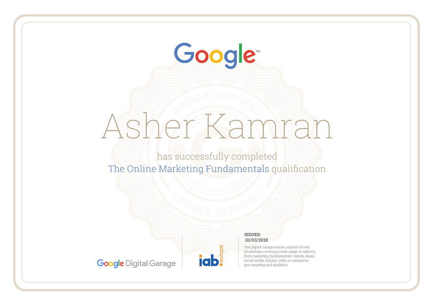 Google Certificate of Branding