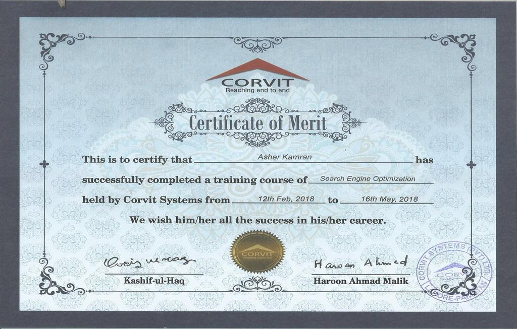 Certificate Top SEO Expert in Lahore