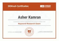 SEMRush Keyword Research Certificate